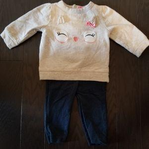 Isaac Mizrari Owl Sweatshirt and Jean's Set 6-9M